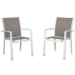 Vente-unique Zestaw 2 foteli ogrodowych taipivai z aluminium i tekstylenu - biała konstrukcja i siedzisko taupe