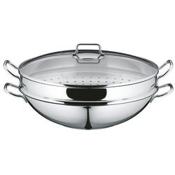 macao wok 2-częściowy, bez powłoki, ø 36 cm, krawędź party ułatwiająca wylewanie, uchwyt ze stali nierdzewnej cromargan, do płyty indukcyjnej i mycia w zmywarce marki Wmf