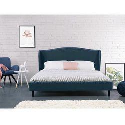 Łóżko granatowe - 180x200 cm - łóżko tapicerowane - stelaż - COLMAR, kolor niebieski