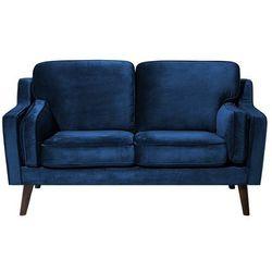Beliani Sofa dwuosobowa tapicerowana ciemnoniebieska lokka