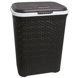 Kosz na pranie prostokątny czarny 50l (5907569740963)