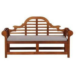 Ławka ogrodowa drewniana 180 cm poducha szaro-beżowa TOSCANA Marlboro (7105279259678)