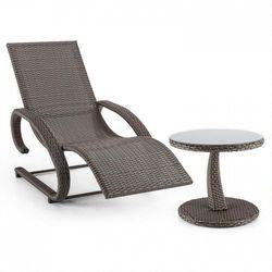 Blumfeldt daybreak leżak bujany + stolik imitacja plecionki kolor szarobrązowy (taupe) (4260509678568)