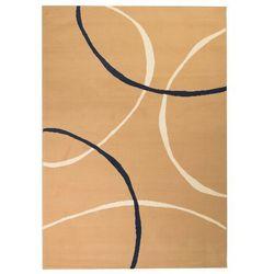 Nowoczesny dywan, wzór w koła, 140 x 200 cm, brązowy