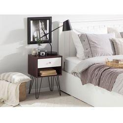 Szafka nocna z szufladą ciemne drewno z białym arvin marki Beliani