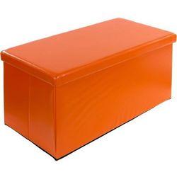 Stilista ® Duża pomarańczowa składana pufa cube siedzisko kufer - pomarańczowy