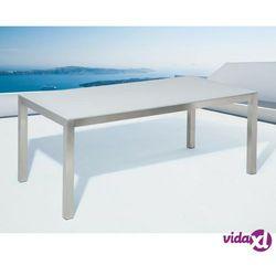 stół ogrodowy stal nierdzewna/szkło hartowane biały 180 cm grosseto marki Beliani