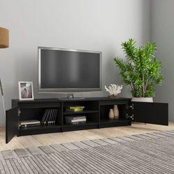 Vidaxl szafka pod tv, czarna, 140x40x35,5 cm, płyta wiórowa