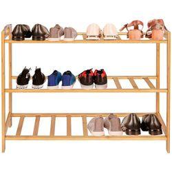 Szafka na buty bambusowa 3 półki, stojak na obuwie naturalny
