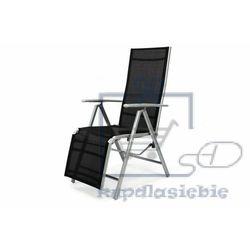 Leżak krzesło ogrodowe składane z wysokim oparciem i podnóżkiem czarne marki Garthen