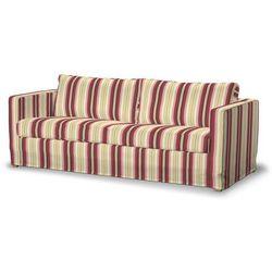 Dekoria Pokrowiec na sofę Karlstad 3-osobową nierozkładaną, długi, czerwono-bordowe pasy, Sofa Karlstad 3-osobowa, Mirella, kolor czerwony
