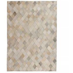 Dywan ze skóry bydlęcej, patchwork w romby, 80x150 cm, szary