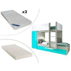 Vente-unique Łóżko piętrowe antonio z wysuwaną szufladą – 3 × 90 × 190 cm –szafa – kolor drewna sosnowego, turkusowy i biały, z wysuwanym materacem i 2 materacami zeus 90 × 190 cm