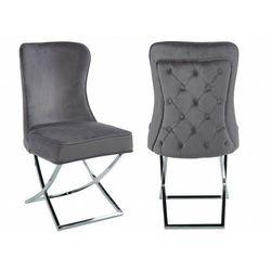 Krzesło tapicerowane y-2009 szary welur / srebrne nogi marki Meblin