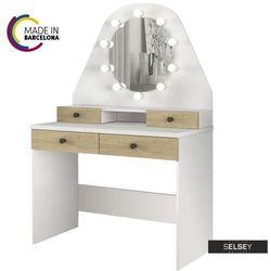 SELSEY Toaletka Dacetino biały - dąb sonoma z okrągłym lustrem i oświetleniem - made in Barcelona (5903025380629)