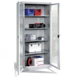 Metalowa szafa warsztatowa - różne wymiary. Drzwi przeszklone. Półki o nośności 70 kg.