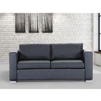 Skórzana sofa trzyosobowa czarna - kanapa - HELSINKI