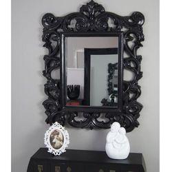 Lustro, ozdobna, ażurowa rama, kolor czarny, satynowy połysk, styl barokowy. marki Design by impresje24