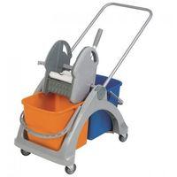 Wózek do sprzątania dwuwiadrowy z tworzywa sztucznego, dwa wiadra 25l, prasa do mopów marki Merida