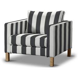 Dekoria Pokrowiec na fotel Karlstad, krótki czarno-białe pasy, Fotel Karlstad