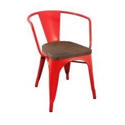Krzesło metalowe, siedzisko drewniane TOWER ARM WOOD czerwone - sosna antyczna, metal, MC-005.RED.SOS (7812148)