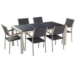 Zestaw ogrodowy naturalny kamień 180 cm 6-osobowy rattanowe krzesła grosseto marki Beliani