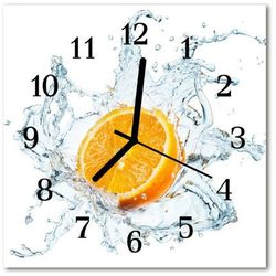 Zegar szklany kwadratowy Woda pomarańczowa