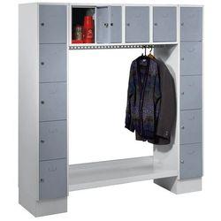 Szafa na garderobę, otwarta, wys. x szer. całk.: 1850x1800 mm, 14 półek, srebrno marki Eugen wolf