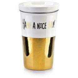 GOLD CHIC Kubek z pokrywką 410ml +zaparzacz