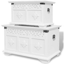 dwie skrzynie do przechowywania, kolor biały marki Vidaxl