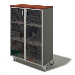 Szafa bern plus mobilna - szkło, 900 x 430 x 1290 mm, brzoza marki B2b partner