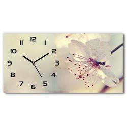 Nowoczesny zegar ścienny szklany Kwiat wiśni