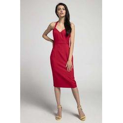 Czerwona Dopasowana Sukienka Midi Wiązana na Karku, kolor czerwony