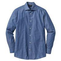 Koszula biznesowa w delikatny deseń Regularny Fit bonprix niebiesko-biały wzorzysty