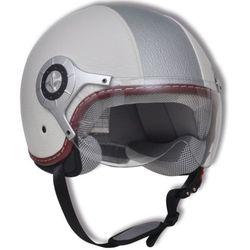 Skórzamy kask na skuter, S, biało-srebrny, produkt marki vidaXL