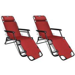 Regulowane, składane leżaki z podnóżkami, 2 szt., czerwone marki Vidaxl