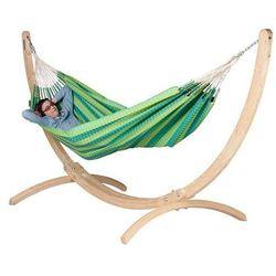 Zestaw hamakowy: hamak dwuosobowy carolin0a ze stojakiem canoa, zielony cah16cns161 marki La siesta