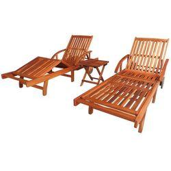 Vidaxl zestaw 2 leżaków ze stolikiem, drewno akacjowe, brązowy