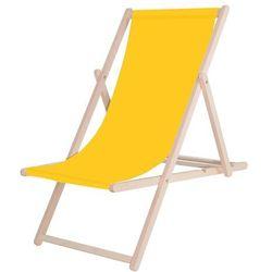 Leżak ogrodowy drewniany z materiałem żółty (5909230001076)