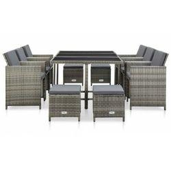 vidaXL 11-cz. zestaw mebli ogrodowych z poduszkami, rattan PE, szary