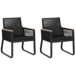 Beliani zestaw 2 krzeseł czarne canetto (4251682205283)