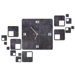 Drewniany zegar na ścianę z kwadratami ze złotymi wskazówkami (5907509934438)