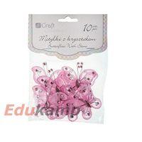 Motylki z kryształem DPCRAFT 5cm 10szt. różowe (CEOZ-005) (5907589914689)