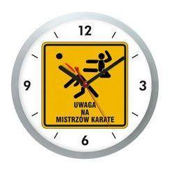 Zegar ścienny srebrny ostrzeżenie