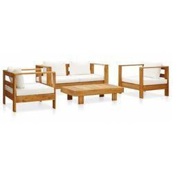 Elior Zestaw mebli ogrodowych z białymi poduszkami - nicole