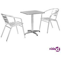 meble bistro z kwadratowym stolikiem, 3 szt., srebrne, aluminium marki Vidaxl