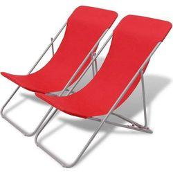 Vidaxl Składane leżaki plażowe 2 szt czerwone