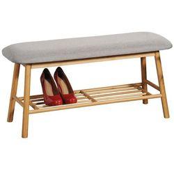 Bambusowa szafka na buty z tapicerowanym siedziskiem, wygodna ławeczka i stojak na buty w jednym