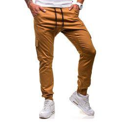Spodnie męskie joggery ATHLETIC 0404GBR camelowe - CAMELOWY, kolor żółty