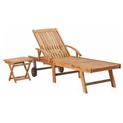 Drewniany leżak ogrodowy ze stolikiem - Algero 3X